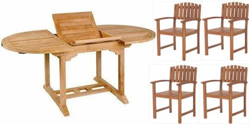 5pc. Teak Oval Extension Table Dining Chair Set