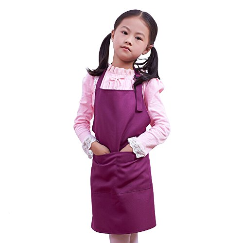 Fantastic_008 Children's Aprons Baby Girl Boy Aprons Kitchen Garden Aprons For Painting Cleaning (Purple)