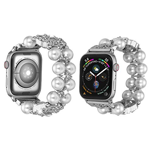 Ritastar Jewelry Bling Bracelet Compatible for Apple Watch Bands 42mm 44mm Womens Girls Adjustable Handmade Elastic Stretch Wristband Artificial Pearl Design for iWatch Series 5/4/3/2/1, White