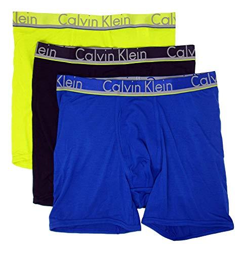 Calvin Klein Men's Comfort Microfiber Boxer Brief 3 Pack (Small, Black/Angst/Electra)