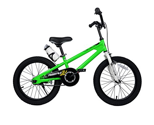 Royalbaby RB18B-6G BMX Freestyle Kids Bike, Boy's Bikes and Girl's Bikes with Training Wheels, Gifts for Children, 18 inch Wheels, Green