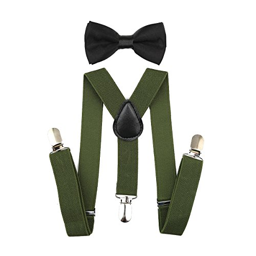 Child Kids Suspenders Bowtie Set - Adjustable Suspender Set for Boys and Girls(25Inches (5 Months to 6 Years),Army Green)