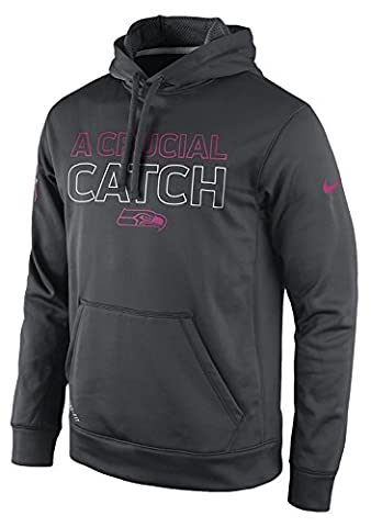 Nike Ko Bca Pullover (Seahawks) Pink Ribbon Hoodie (Medium) (Seahawks Nike Ko Hoodie)