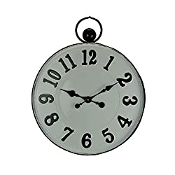 Time Concept White and Black Metal Round Pocket Watch Style Wall Clock