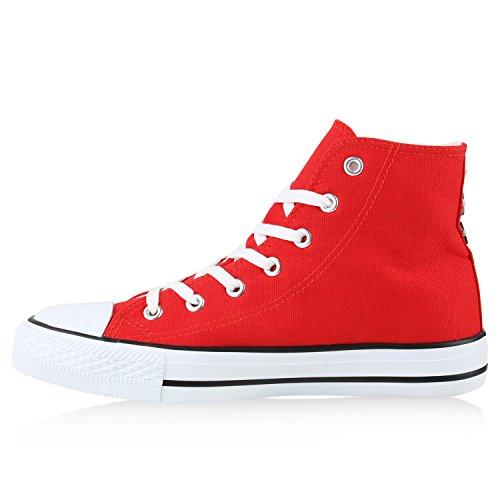 Damen Sneakers Denim Stoffschuhe Spitze Sneaker Low Nieten Glitzer Schuhe Freizeit Damenschuhe Turnschuhe Flandell Rot Nieten