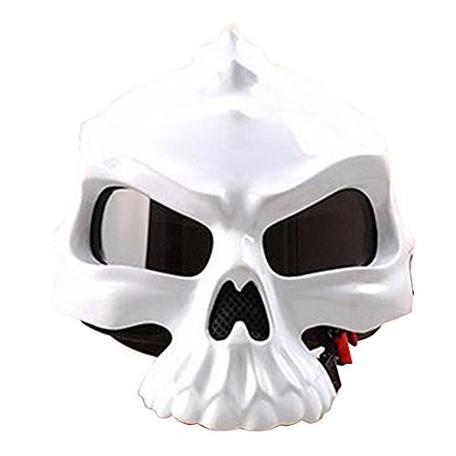 Motorcycle Bike Scooter Open Face Helmet 3D Skull Skeleton Half Helmets Matte Black White Gold Green Pink [DOT] S M L XL XXL (White, L)