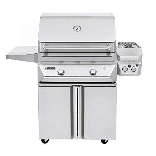 CL 30-Inch Propane Gas Grill On Two Doors Cart With Sear Zone Kit And 13-Inch Double Side Burners (Electric Sealed Burners Grill)