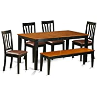 East West Furniture NIAN6-BCH-LC 6 Piece Kitchen Table and 4 Dining Room Chairs Together with A Bench Set