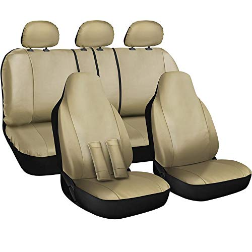 OxGord Car Seat Cover - PU Leather Solid Beige with Front Low Bucket and 50-50 or 60-40 Rear Split Bench - Universal Fit for Cars, Trucks, SUVs, Vans - 10 pc Complete Full Set