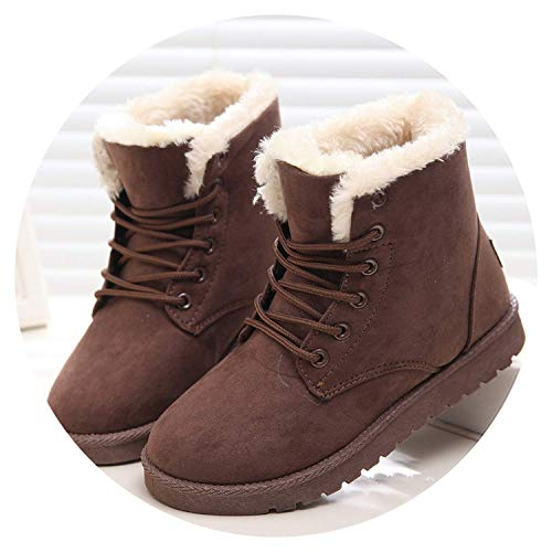 High end Women Boots Winter Super Warm Snow Boots Women Suede Ankle Boots for Female Winter Shoes Mujer Plush Booties Shoes Woman,10.5,Brown