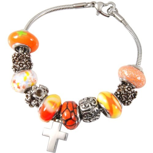 Memorial Gallery Sunset Orange Remembrance Bead Pet Cross Urn Charm Bracelet, 8'' by Memorial Gallery