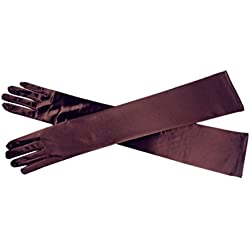 "DreamHigh Women's Party Wedding 21"" Long Satin Finger Gloves Brown"