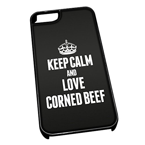 Nero cover per iPhone 5/5S 0993 nero Keep Calm and Love Corned Beef