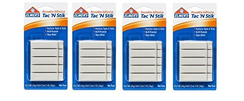 Elmer's Tac 'N Stik Reusable Adhesive, 2 Cards oer Set - 4 Sets Total ()