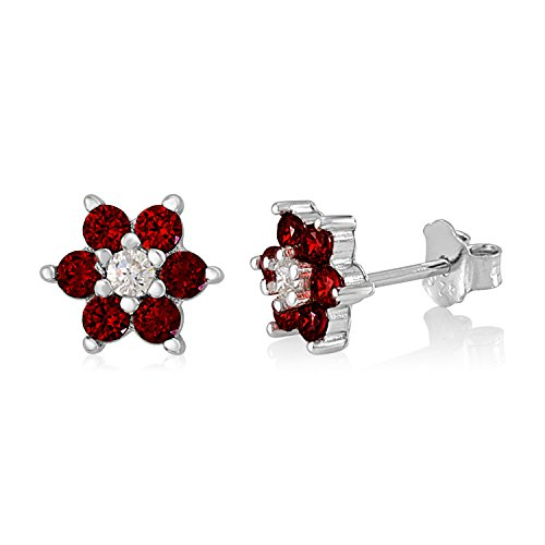 UNICORNJ Childrens Sterling Silver 925 Dark Red CZ 6 Petal Flower July Birth Month Stud Post Earrings Italy