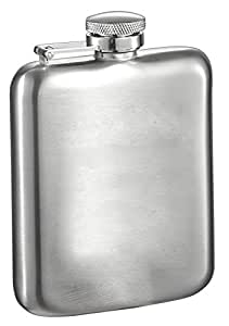 "Visol ""Podova"" Stainless Steel Hip Flask, Satin Finish, 6-Ounce, Chrome"