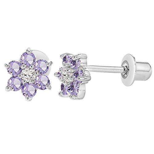 Plaqué Rhodium en forme de fleur en cristal Violet lavande à Dos Fille-Boucles d'oreilles Enfant
