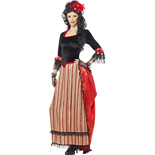 Saloon Madame Costumes (Smiffy's Women's Authentic Western Town Sweetheart Costume, Dress and Hat, Western, Serious Fun, Size 10-12, 34290)