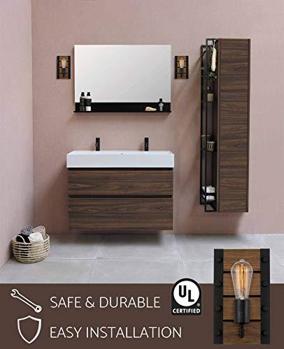 "Kira Home Logan 10"" Modern Farmhouse Wall Fixture/Wall Sconce, Walnut Style Wood + Textured Black Finish"