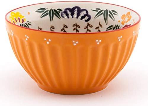 Amazon Com Mira Designs Earthenware Latte Bowls 25 Fl Oz Cereal Bowl Soup Salad Rice Pasta Floral Design 6 Inch Diameter Orange Soup Bowls