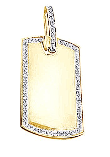 1Ct Round Cut CZ Hip Hop Dog Tag Pendant In 14K Gold Over Sterling Silver by wishrocks
