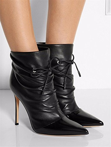 Pointed High Leather BLACK Boots Heel Shoes NVXIE EUR36UK354 Ankle Ladies Black Autumn Stiletto Women Spring Short wxRqg4FS