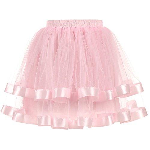 Light Pink Women's Dresses 2 Layers Tulle Hoopless Underskirts Crinoline With Satin Edge,OneSize -