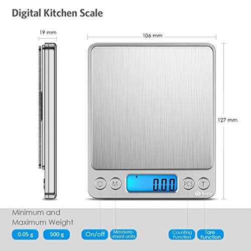 [New] Brifit Digital Kitchen Scale, 500g/ 0.01g Mini Pocket Jewelry Scale, 100g calibration weight, Cooking Food Scale, Back-Lit LCD Display, 2 Trays, 6 Units, Auto Off, Tare, PCS, Stainless Steel
