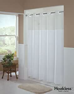 hookless shower curtain mystery white longer