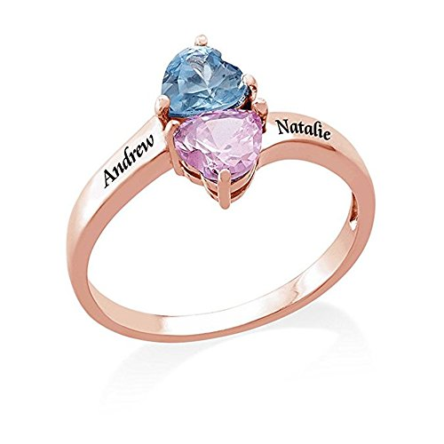 a266XDKSJK Infinity Silver Rings Heart Shaped Birthstones Engraved Ring Personalized Name Ring Promise Rings Made Gift for Her (Custom 1-rose-gold 13.5) by a266XDKSJK