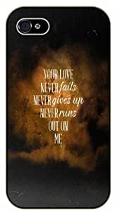 Your love never fails, never gives up, never runs out on me - Yellow nebula - Bible verse iphone 4s black plastic case / Christian Verses