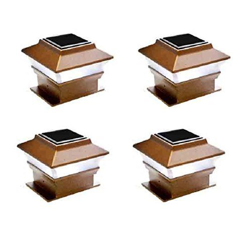 4 Pack Solar Powered Copper Outdoor Garden Deck Patio Fence Pathway Post Light (Brown-SMD)
