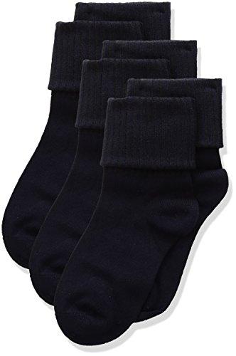 Classroom Uniforms Girl's Triple Roll Socks - Small - Dark Navy (3-Pack)