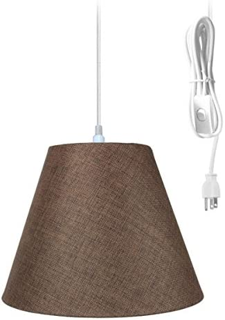 1 Light Swag Plug-in Pendant 16 w Chocolate Burlap Shade, 17 White Cord