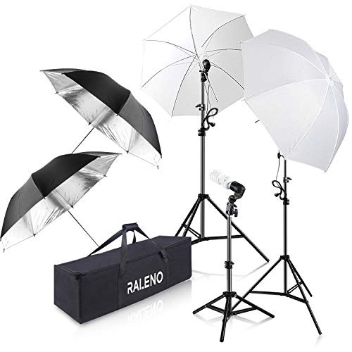 Studio Lighting Umbrella Light - Photography Umbrella Lighting Kit, 600W 5500K Day Light Continuous Studio Lights Equipment for Portrait Video Studio Shooting by RALENO