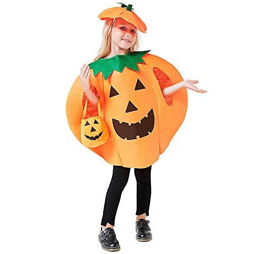 Cheap Pumpkin Costume (3PCS Halloween Pumpkin Costume for Kids Children Halloween Pumpkin Cosplay Party Clothes with A Hat,A Bag)