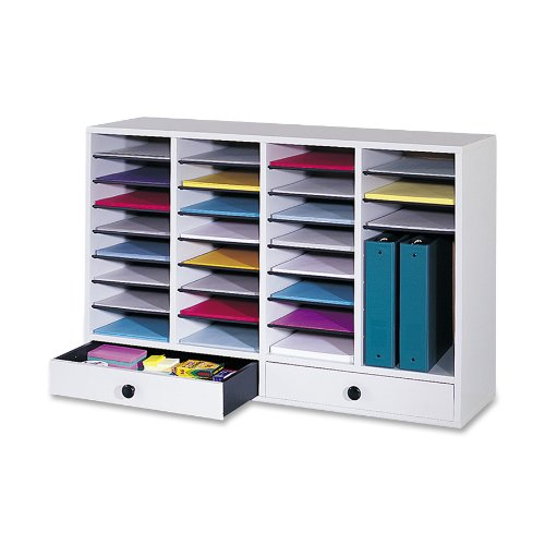 Safco Products 9494GR Wood Adjustable Literature Organizer, 32 Compartment with Drawer, Gray by Safco Products
