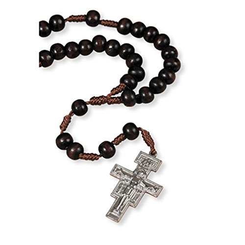 (Religious Gifts Wood Bead 7 Decade Cord Rosary with San Damiano Franciscan Crown Cross Crucifix)