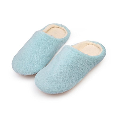 Furry Soft Plush Floor Home for Cotton Slippers Shoes Slip Bedroom Blue Slippers House Indoor Non Women Shoes Cute Jwhui 7dqw8xg57
