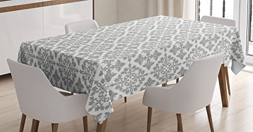 Ambesonne Grey Decor Tablecloth, Antique Victorian Floral Retro Patterns in Modern Graphic Print Old Fashioned Boho Chic Art, Dining Room Kitchen Rectangular Table Cover, 60 X 90 Inches - Floral Print Victorian