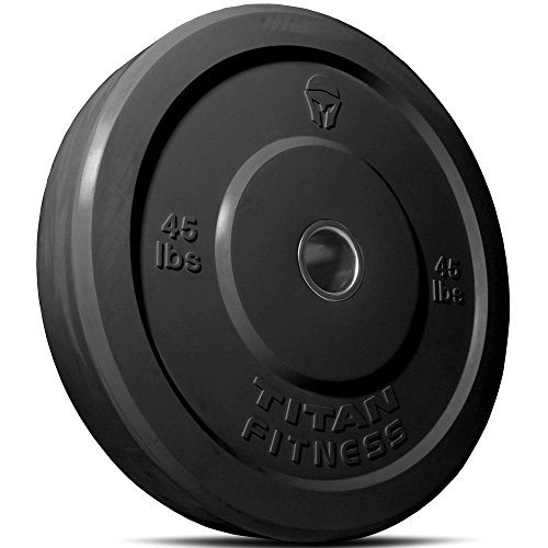 Titan Fitness 45 lb Olympic Bumper Plate Black Benchpress Strength Training by Titan Fitness