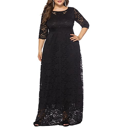 Eternatastic Womens Floral Lace 2/3 Sleeves Maxi Dress Evening Party Long Dress 3XL Black ()