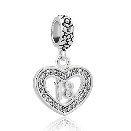 - Q&Locket 18th Happy Birthday Gift Dangle Filigree Heart Charms for Bracelet