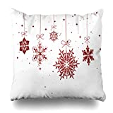 Decor.Gifts Throw Pillow Covers Winter Red Happy Christmas Snowflakes Holiday Snow North Star