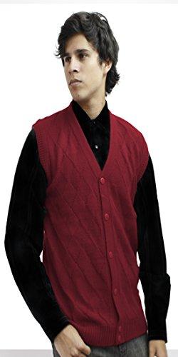 Mens Soft Alpaca Wool Knitted V Neck Sweater Button Down Golf Vest Diamond Design (XXL, Red)