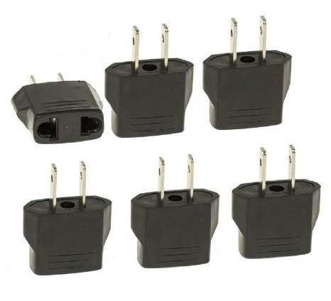 Blue Elf® 8 PCS European to USA American Outlet Plug Adapter Flat Pin with Free Cable Organizer