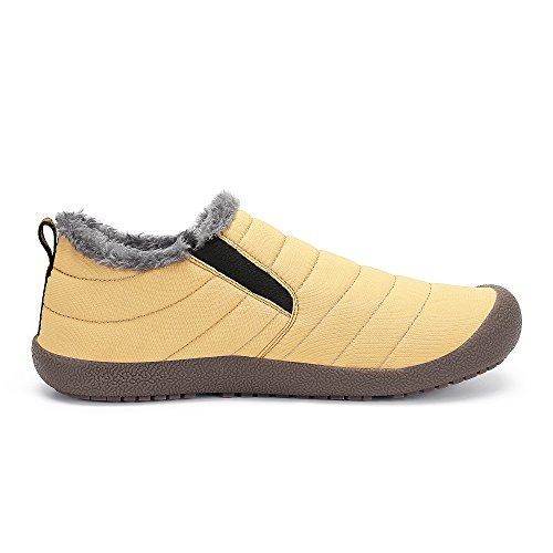 Men Women Outdoor Waterproof Snow Boots Fur Lined Anti-Slip Lightweight Winter Shoes Yellow-low Top FitnHna
