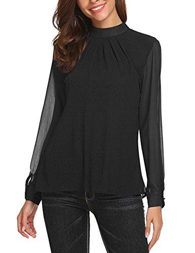 SoTeer Long Sleeve Chiffon Blouse Women's Loose Casual Cuffed Sleeve Layered Tops Black - Chiffon Long Sleeve Blouse