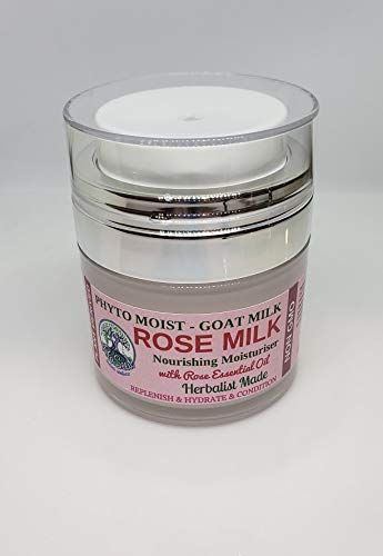 - ROSE MILK - Goat Milk Cream with Rose Essential Oil - Ultimate All Natural Moisturising Lotion | Anti-aging and Nourishing | Herbalist Made | Hand Made | 1 oz