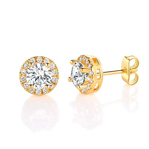 MDFUN Yellow Gold Plated Round Cubic Zirconia Stud Earring For Women